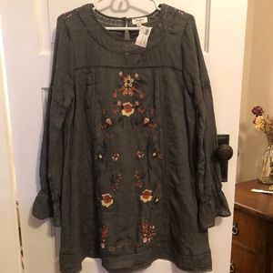 Olive green embroidered dress